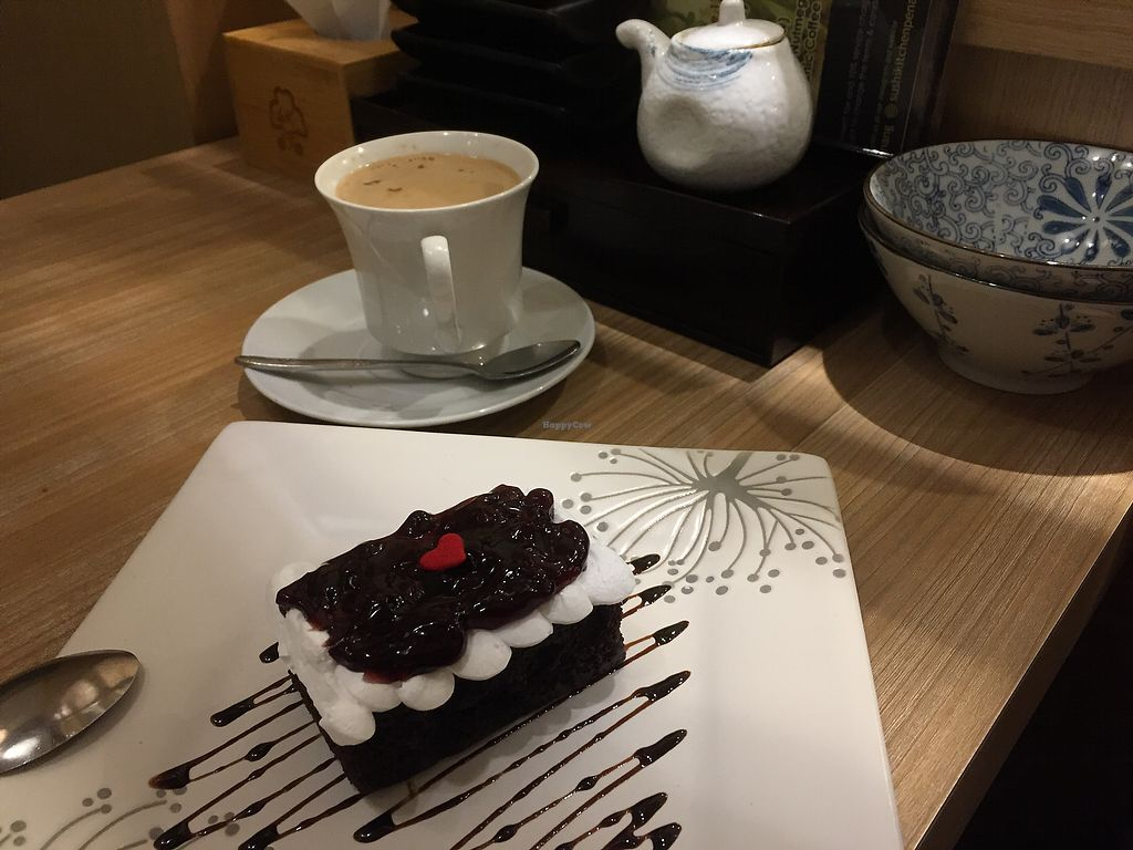 """Photo of Sushi Kitchen - Plaza Gurney  by <a href=""""/members/profile/SusanRoberts"""">SusanRoberts</a> <br/>Coffee and cake set (blueberry/chocolate) <br/> March 23, 2018  - <a href='/contact/abuse/image/85510/374702'>Report</a>"""