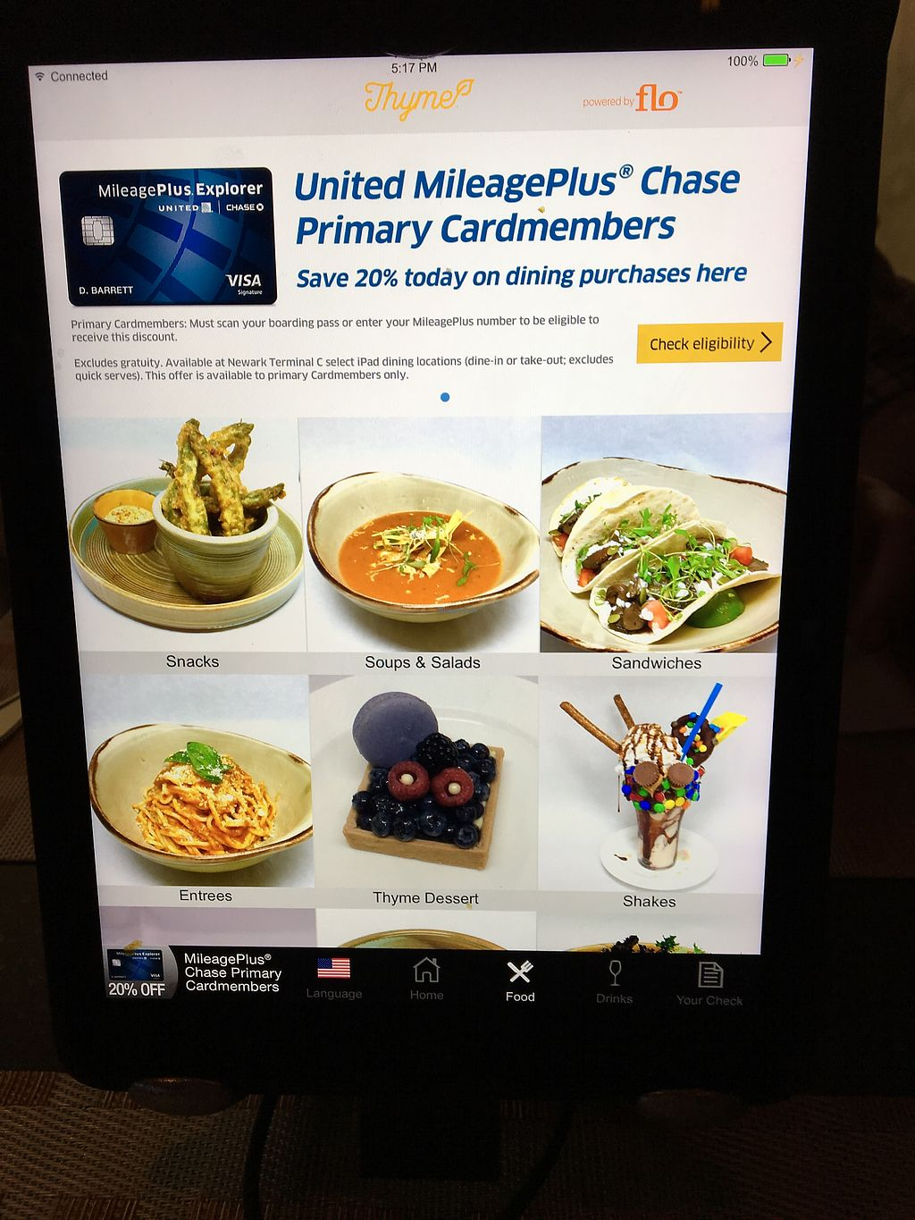 """Photo of Thyme - Airport  by <a href=""""/members/profile/JJones315"""">JJones315</a> <br/>Menu Tablet <br/> October 4, 2017  - <a href='/contact/abuse/image/85522/311821'>Report</a>"""