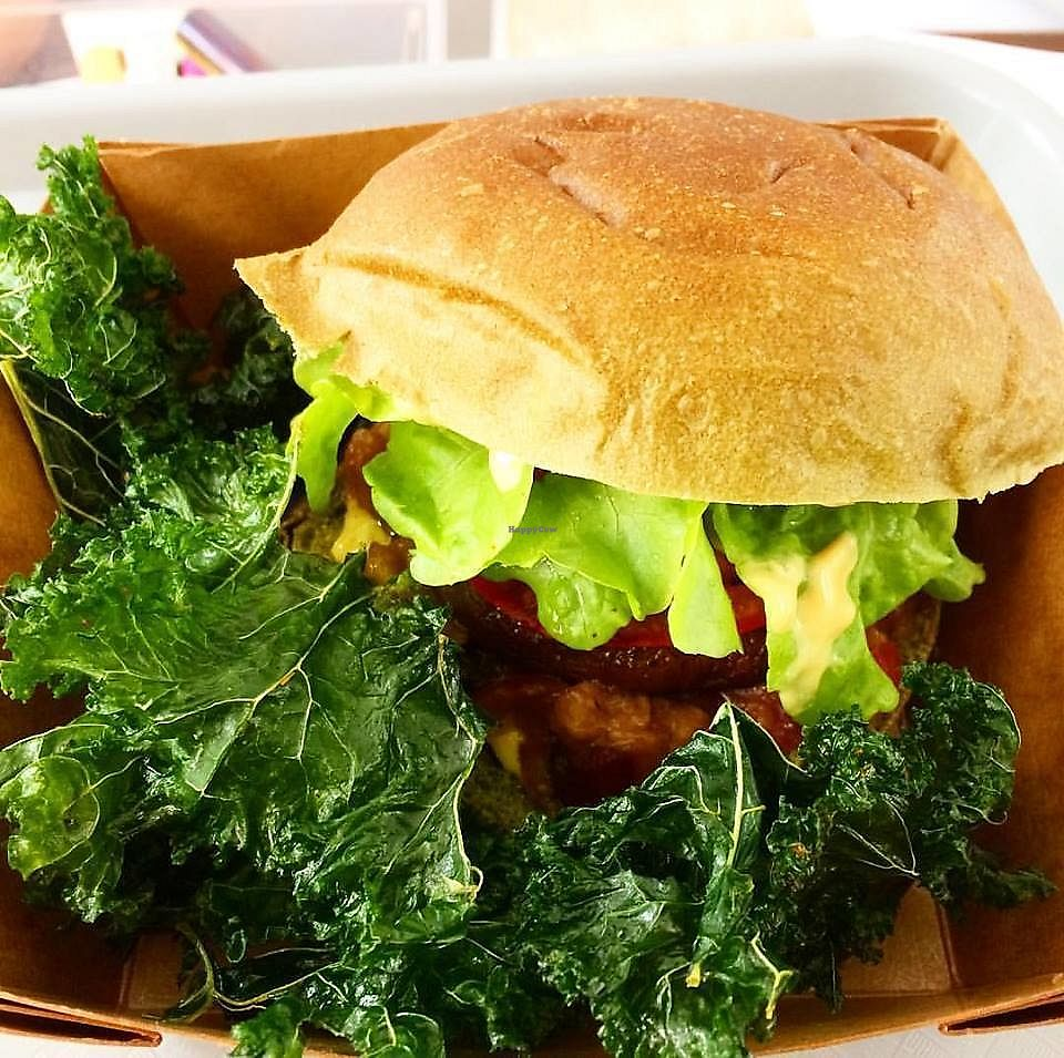 """Photo of Le Myrha  by <a href=""""/members/profile/aida82"""">aida82</a> <br/>Vegan burger to go, sold at the deli shop Le Myrha <br/> October 5, 2017  - <a href='/contact/abuse/image/85531/312014'>Report</a>"""