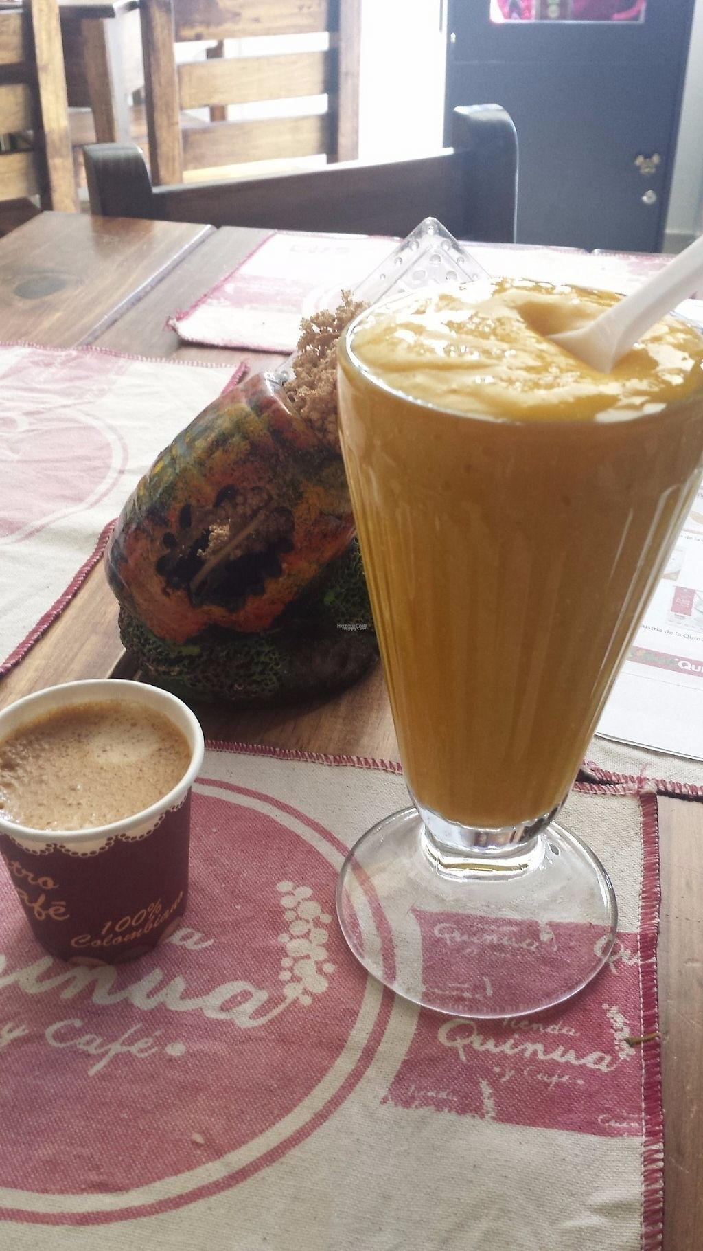 """Photo of Tienda Quinua y Cafe  by <a href=""""/members/profile/Simon-S1"""">Simon-S1</a> <br/>Quinua + Mango + soya milk smoothie. £1.15 Coffee (about 25p!) <br/> January 17, 2017  - <a href='/contact/abuse/image/85585/212597'>Report</a>"""