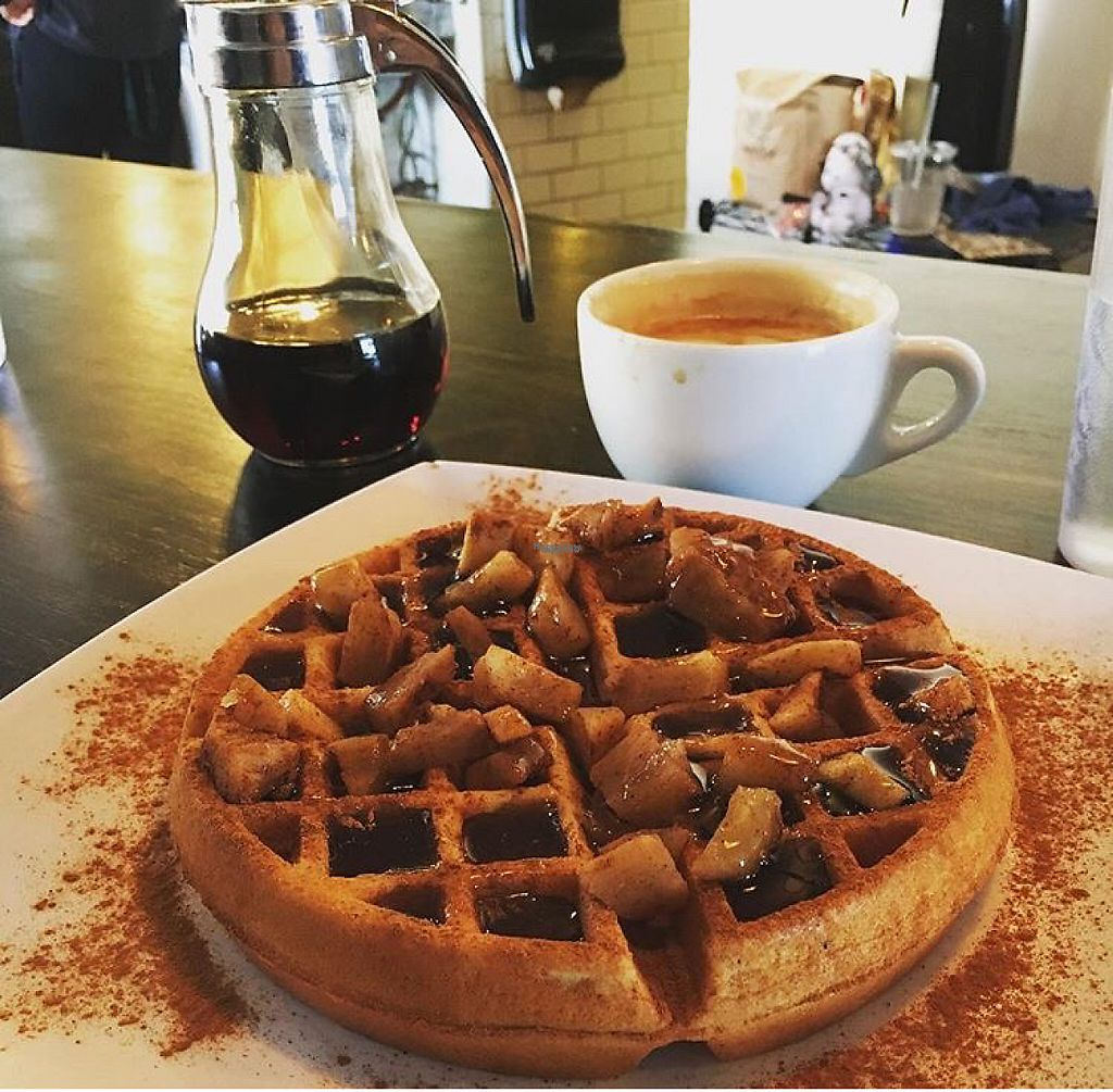 """Photo of Black Coffee and Waffle Bar  by <a href=""""/members/profile/ahenchcliffe"""">ahenchcliffe</a> <br/>Vegan waffle with apples, syrup, and cinnamon.  <br/> January 16, 2017  - <a href='/contact/abuse/image/85600/212409'>Report</a>"""