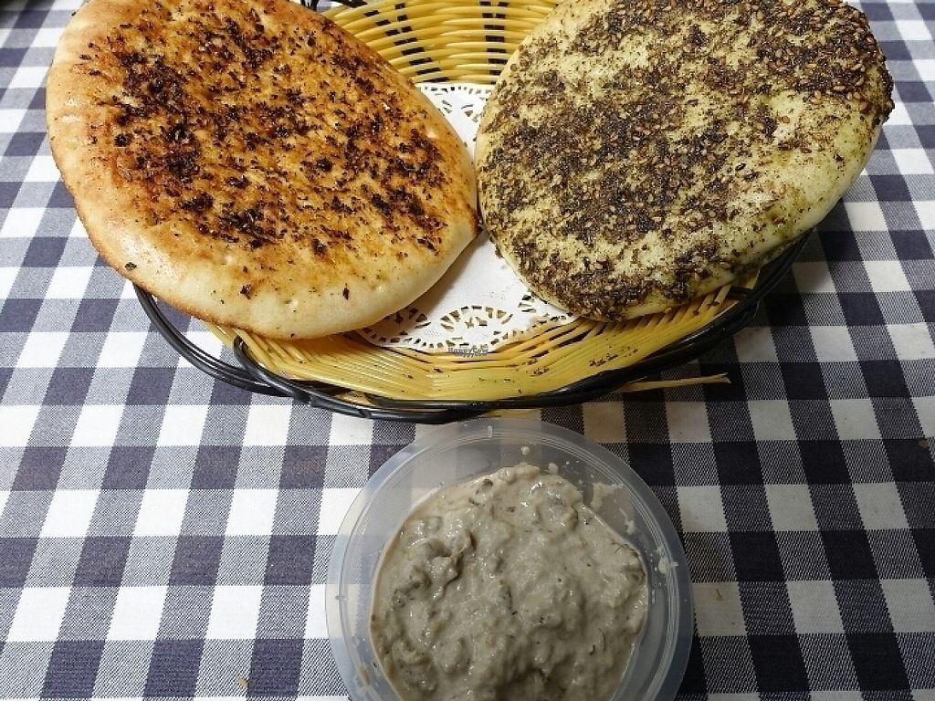 """Photo of Pita Bakery  by <a href=""""/members/profile/JimmySeah"""">JimmySeah</a> <br/>Spicy New Orleans pita, Zaatar Herb pita and Baba Ganush <br/> January 16, 2017  - <a href='/contact/abuse/image/85614/212471'>Report</a>"""