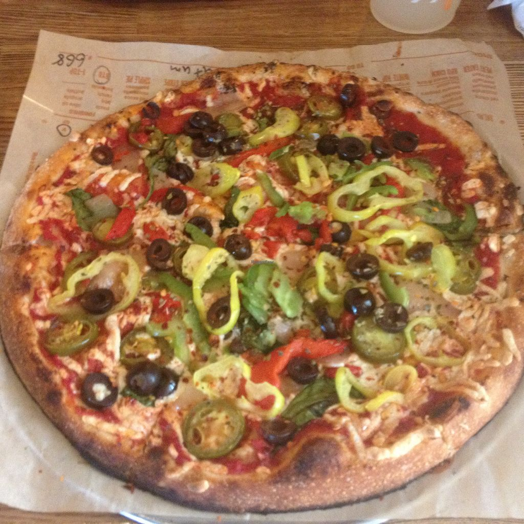 """Photo of Blaze Pizza  by <a href=""""/members/profile/AutumnTierra"""">AutumnTierra</a> <br/>Vegan pizza <br/> July 9, 2017  - <a href='/contact/abuse/image/85624/278053'>Report</a>"""