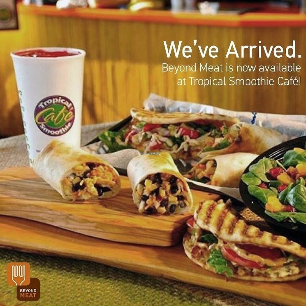 """Photo of Tropical Smoothie Cafe  by <a href=""""/members/profile/BriggitteJ"""">BriggitteJ</a> <br/>Beyond Meat is available at no extra charge to switch out with menu items containing chicken.  <br/> January 16, 2017  - <a href='/contact/abuse/image/85637/212526'>Report</a>"""