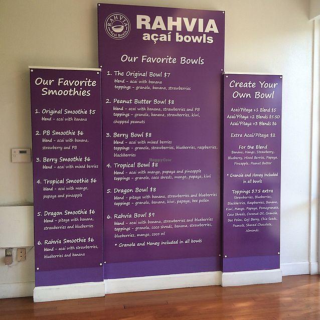 "Photo of Rahvia Acai Bowls  by <a href=""/members/profile/KatieBush"">KatieBush</a> <br/>menu <br/> July 14, 2017  - <a href='/contact/abuse/image/85638/280429'>Report</a>"