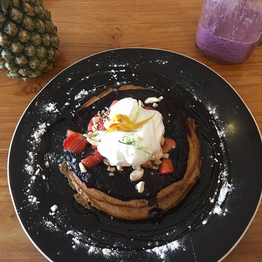 """Photo of Cafe Organic - Seminyak  by <a href=""""/members/profile/SarahBonney"""">SarahBonney</a> <br/>vegan blueberry pancakes <br/> May 5, 2017  - <a href='/contact/abuse/image/85641/255815'>Report</a>"""