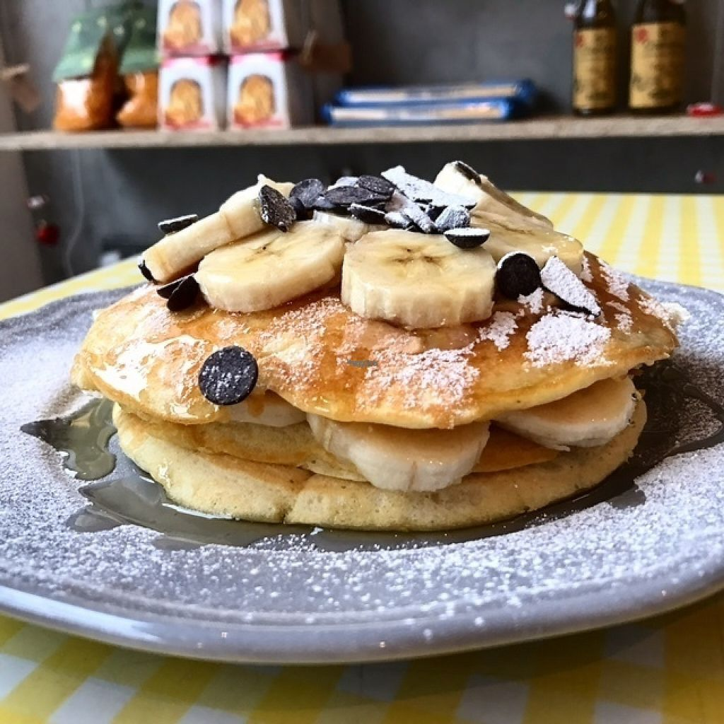 """Photo of Lele's  by <a href=""""/members/profile/Leles"""">Leles</a> <br/>Our yummy vegan pancakes with banana and chocolate. Prepared freshly from scratch for each order <br/> January 17, 2017  - <a href='/contact/abuse/image/85652/212879'>Report</a>"""