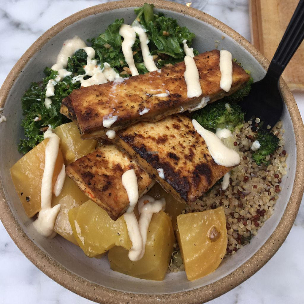 """Photo of Dig Inn  by <a href=""""/members/profile/LilMsVegan"""">LilMsVegan</a> <br/>quinoa topped with beets, tofu, and kale. and that tofu aioli sauce!  <br/> April 22, 2017  - <a href='/contact/abuse/image/85674/251218'>Report</a>"""