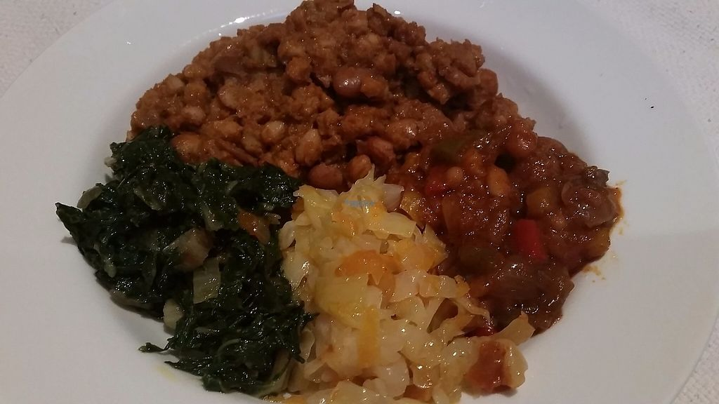 """Photo of Big Momma's  by <a href=""""/members/profile/konlish"""">konlish</a> <br/>Samp and beans, chakalaka, fried cabbage and fried spinach <br/> January 23, 2017  - <a href='/contact/abuse/image/85692/215426'>Report</a>"""