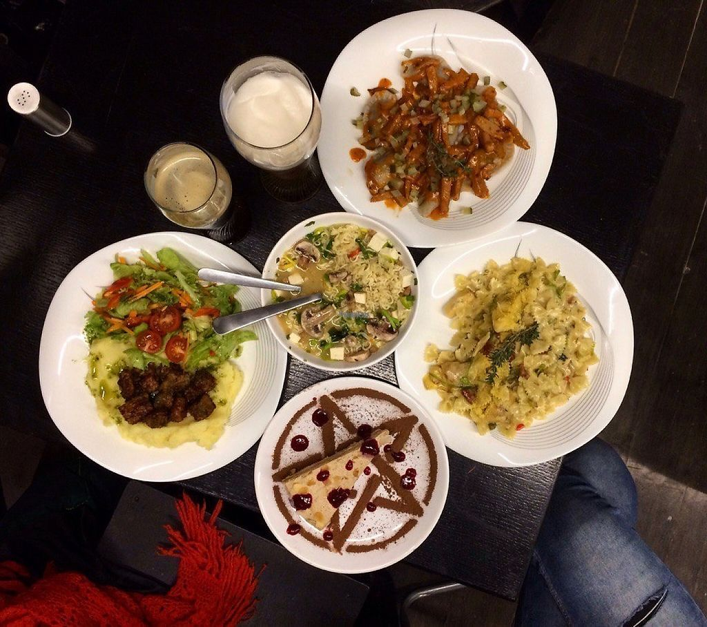 """Photo of Animals  by <a href=""""/members/profile/kostyamustdie"""">kostyamustdie</a> <br/>Miso ramen, tempeh with mashed potatoes and mix salad, porfal paste with artichokes and dried tomatoes in creamy sauce, buckwheat dumplings with mushrooms and seitan and cake with prunes and sour cream <br/> April 2, 2017  - <a href='/contact/abuse/image/85704/243942'>Report</a>"""