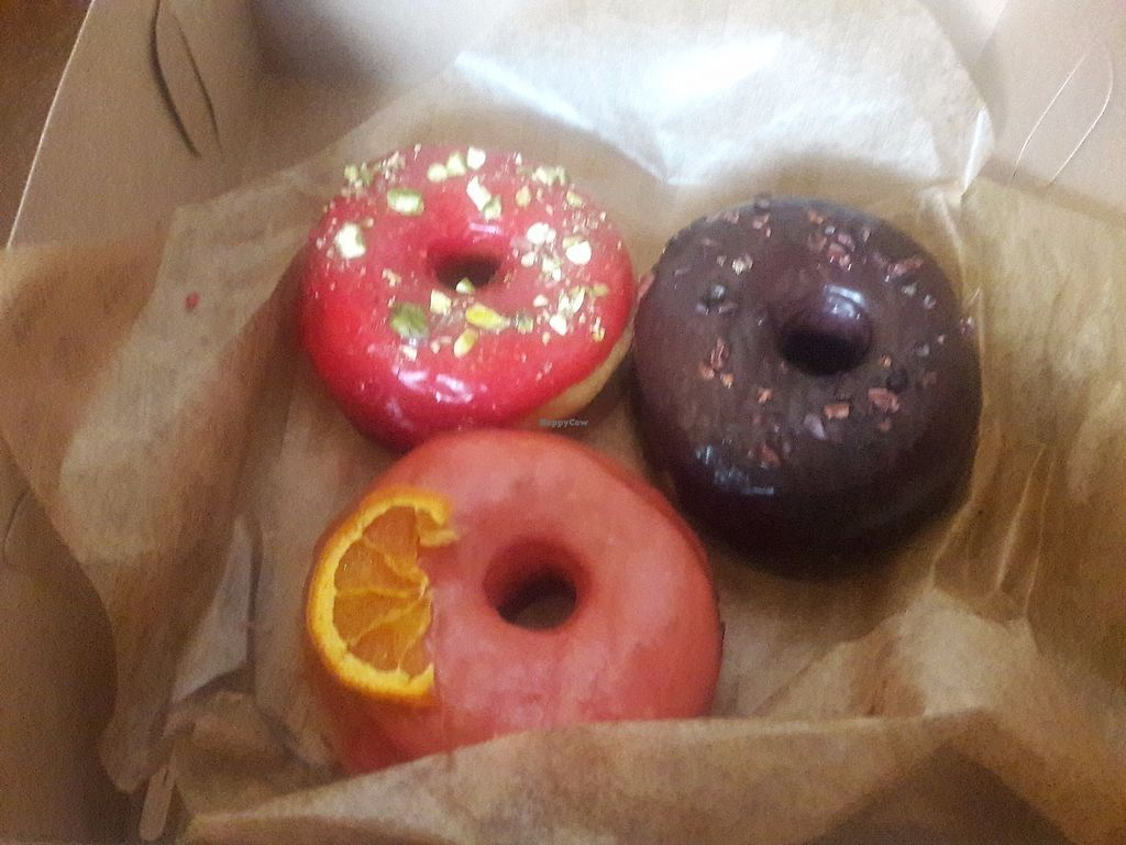 """Photo of Good Town Donuts  by <a href=""""/members/profile/Sonja%20and%20Dirk"""">Sonja and Dirk</a> <br/>raspberry pistachio, blood orange and chocolate cocoa nibs <br/> June 18, 2017  - <a href='/contact/abuse/image/85715/270541'>Report</a>"""