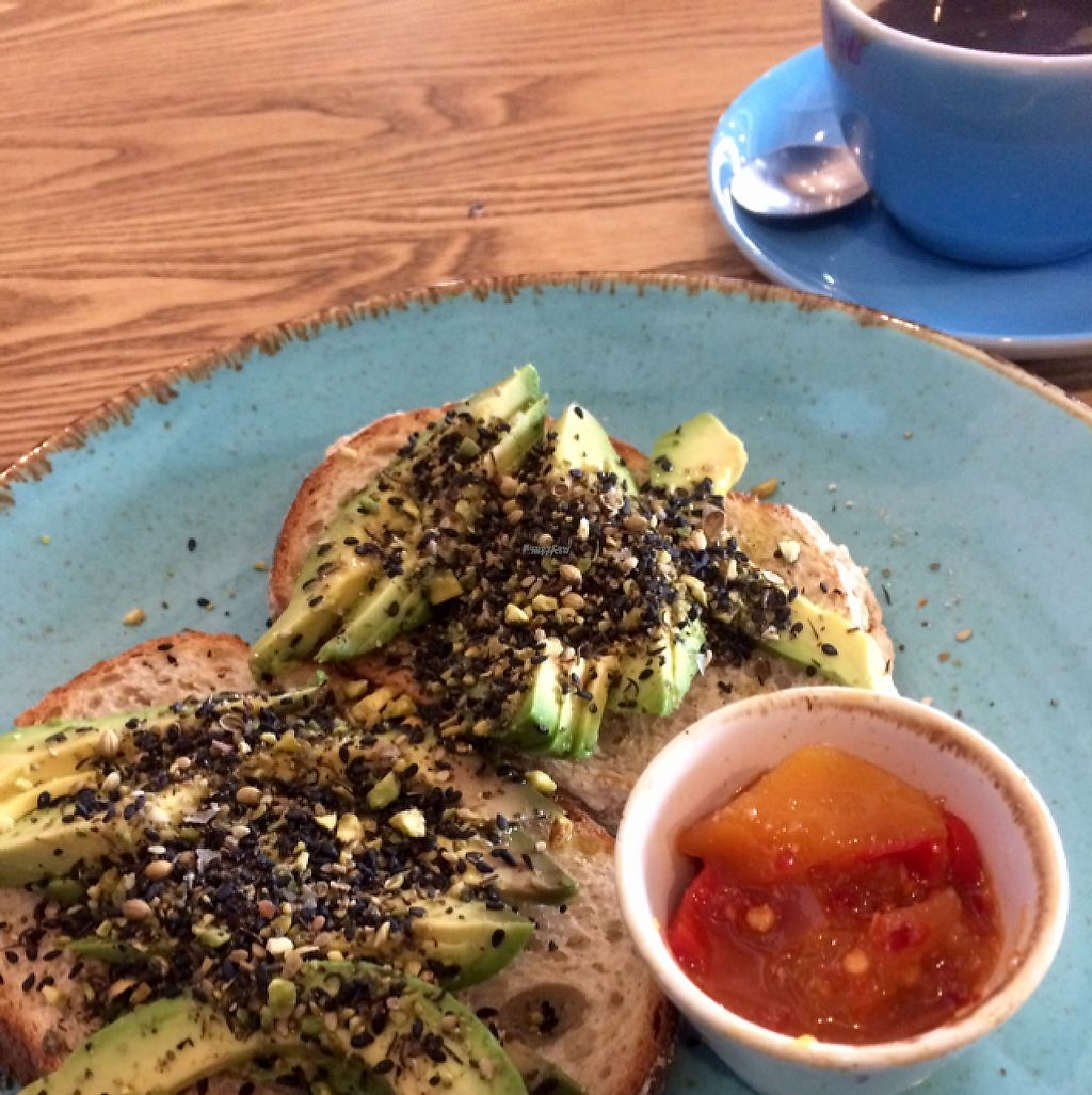"Photo of District Coffee  by <a href=""/members/profile/CiaraSlevin"">CiaraSlevin</a> <br/>Sourdough toast, avocado, dukkah and Chilli mango chutney - SCRUMPTIOUS (& vegan) <br/> April 19, 2017  - <a href='/contact/abuse/image/85719/250076'>Report</a>"