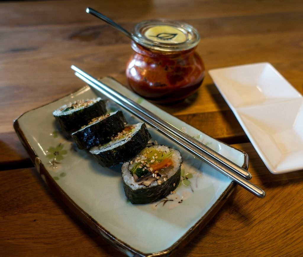 """Photo of Bibimcup  by <a href=""""/members/profile/DusselDaene"""">DusselDaene</a> <br/>Kimbap with vegetables. Ask for vegan version, the normal chili sauce on the table is NOT vegan/vegetarian! <br/> April 8, 2017  - <a href='/contact/abuse/image/85721/245845'>Report</a>"""