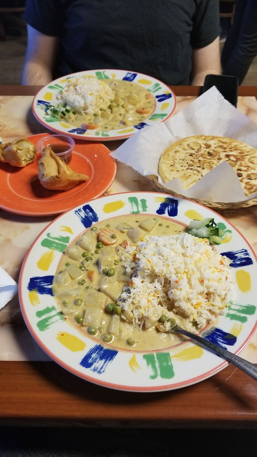 "Photo of Bombay Cafe  by <a href=""/members/profile/MykenBriggs"">MykenBriggs</a> <br/>Veggie coconut curry, samosas and flatbread (without butter)  <br/> February 17, 2018  - <a href='/contact/abuse/image/85727/360551'>Report</a>"