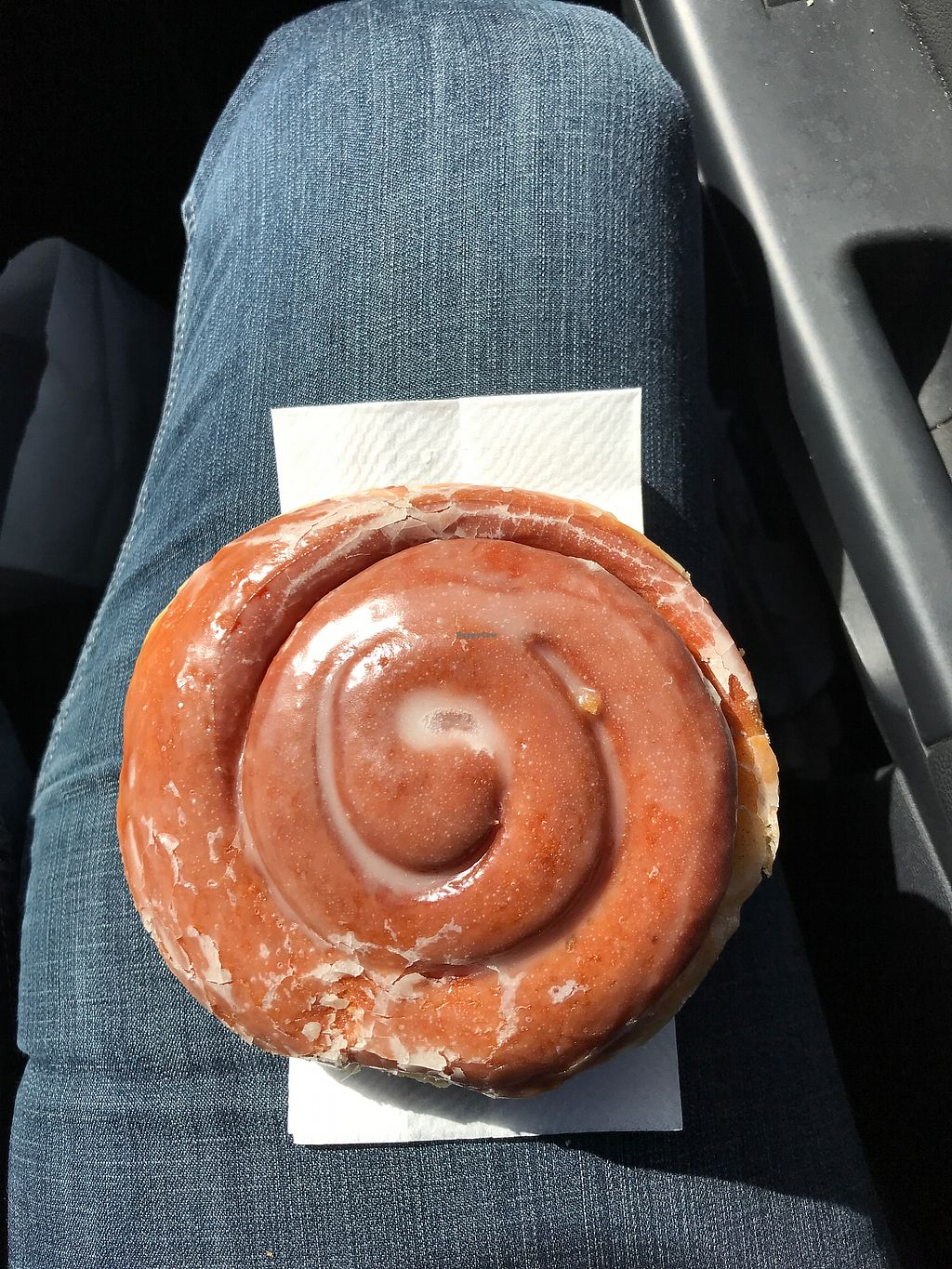 """Photo of Donut Xpress  by <a href=""""/members/profile/glassesgirl79"""">glassesgirl79</a> <br/>Vegan cinnamon roll  <br/> March 23, 2018  - <a href='/contact/abuse/image/85755/374936'>Report</a>"""