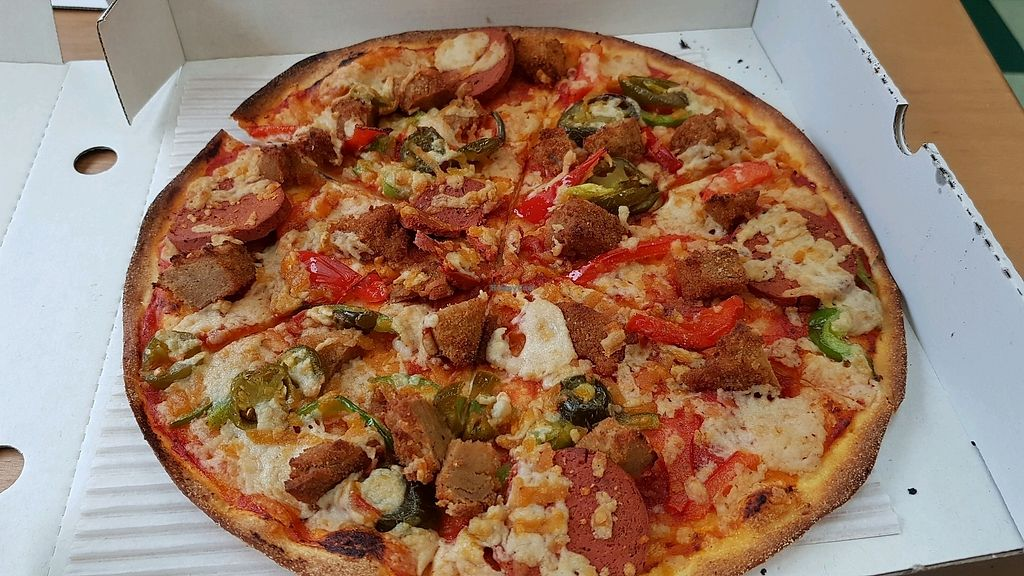 """Photo of Village Pizza  by <a href=""""/members/profile/jollypig"""">jollypig</a> <br/>Spicy vegan <br/> March 30, 2018  - <a href='/contact/abuse/image/85816/378350'>Report</a>"""