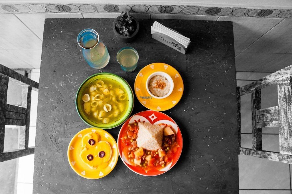 """Photo of El Veggie  by <a href=""""/members/profile/Luppy"""">Luppy</a> <br/>Una muestra del menú: Entrada+ Sopa+ Segundo+ Postre+ Bebida del día = Menú del día <br/> January 22, 2017  - <a href='/contact/abuse/image/85819/214511'>Report</a>"""