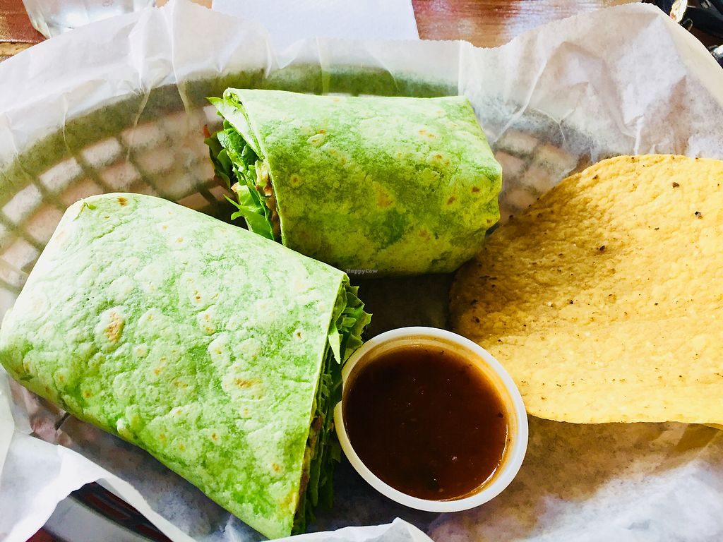 "Photo of Casa Maya  by <a href=""/members/profile/plantpowerfulSusan"">plantpowerfulSusan</a> <br/>Cold vege wrap.  Lots of verges and humus. Impossible to eat both at one time.   Best to split with a friend.  <br/> May 11, 2018  - <a href='/contact/abuse/image/8583/398423'>Report</a>"