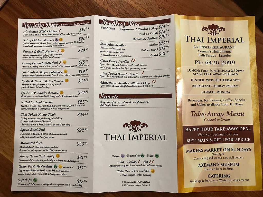 """Photo of Thai Imperial  by <a href=""""/members/profile/ScottTheVegan"""">ScottTheVegan</a> <br/>Menu 1 <br/> July 1, 2017  - <a href='/contact/abuse/image/85840/275559'>Report</a>"""