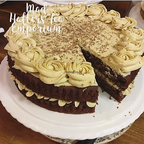"""Photo of Mad Hatters Tea Room  by <a href=""""/members/profile/community5"""">community5</a> <br/>Vegan gluten free vegan chocolate salted caramel cake <br/> June 17, 2017  - <a href='/contact/abuse/image/85860/270229'>Report</a>"""