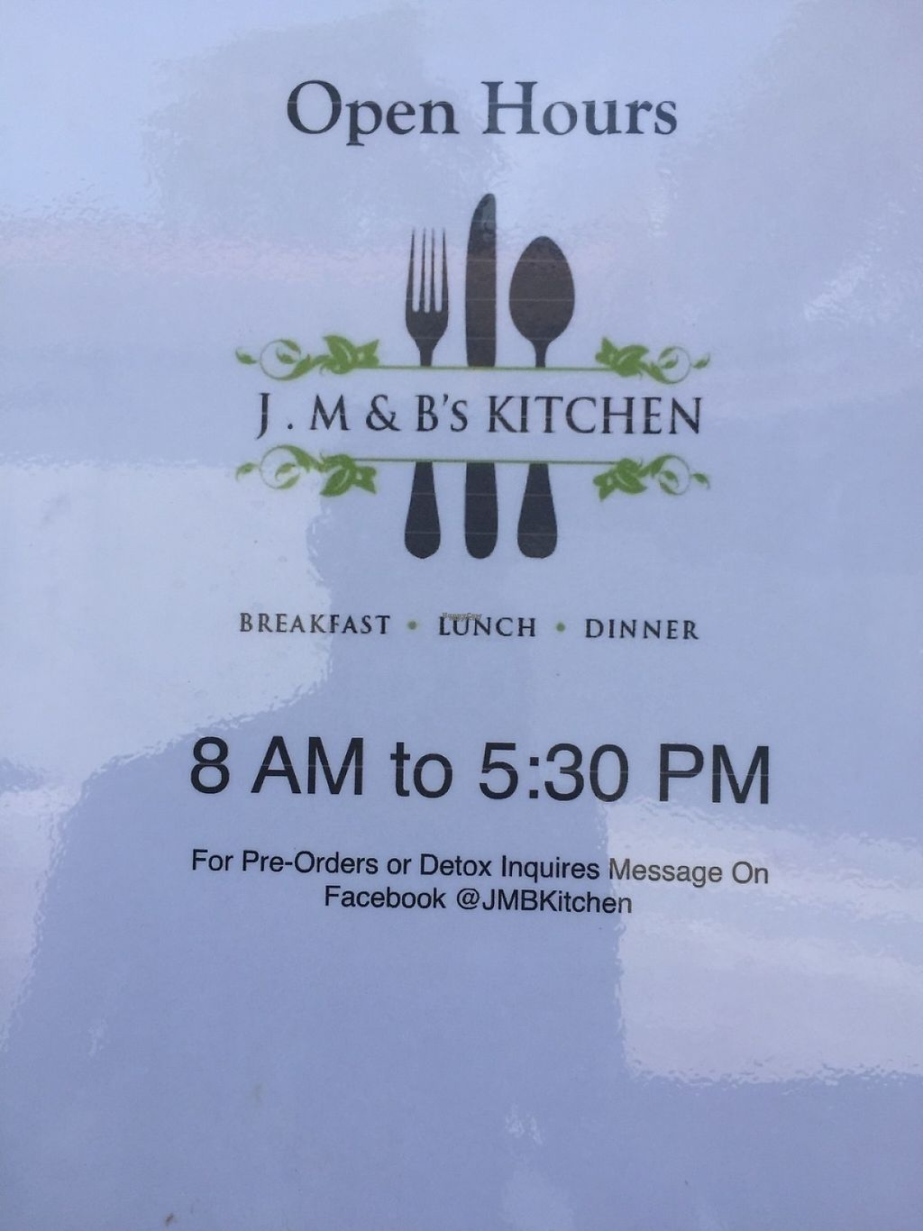 """Photo of J M & B's Kitchen  by <a href=""""/members/profile/olgagreen"""">olgagreen</a> <br/>Opening hours ( on the way to be extended) <br/> January 23, 2017  - <a href='/contact/abuse/image/85887/215230'>Report</a>"""