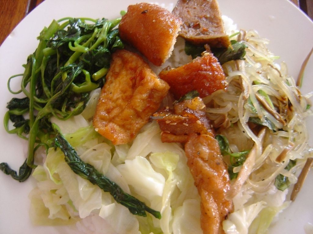 """Photo of Dong My  by <a href=""""/members/profile/mfalgas"""">mfalgas</a> <br/>Some rice with tofu, mock meat, boiled veggies, mock sausage and spring roll <br/> January 23, 2017  - <a href='/contact/abuse/image/85895/215361'>Report</a>"""