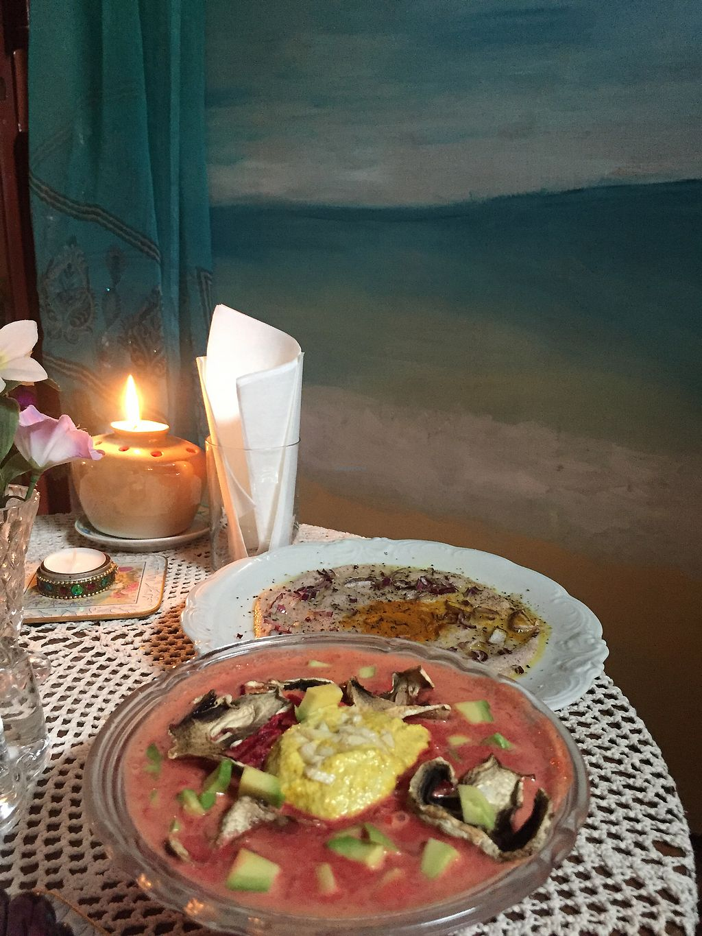 """Photo of Nata Raw  by <a href=""""/members/profile/plantsforants"""">plantsforants</a> <br/>Polish soup """" red borsch"""" which had fernentated cabbage, beatroot, carrot, tomato, awakado and sunflower cream. +&+ Raw """"omelette"""" from young coconut with onion and spices!! <br/> October 25, 2017  - <a href='/contact/abuse/image/85899/318765'>Report</a>"""