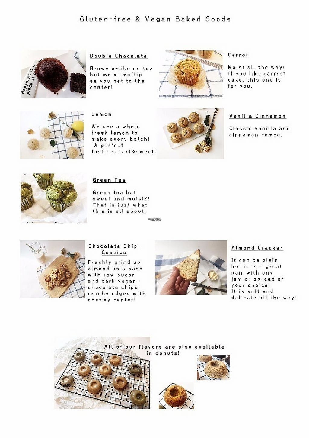 """Photo of Sunny's GF Sweets  by <a href=""""/members/profile/seongrye7"""">seongrye7</a> <br/>Vegan Menu!  <br/> January 23, 2017  - <a href='/contact/abuse/image/85908/215237'>Report</a>"""
