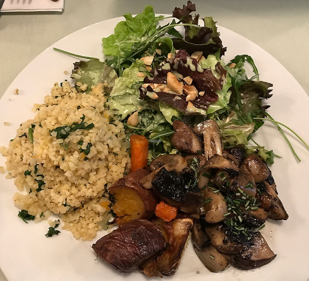 """Photo of Organi Chiado  by <a href=""""/members/profile/YohanaGenova"""">YohanaGenova</a> <br/>bulgar wheat with sautéed mushrooms , baked sweet potatoes with carrots and a side salad <br/> March 1, 2017  - <a href='/contact/abuse/image/85979/241259'>Report</a>"""