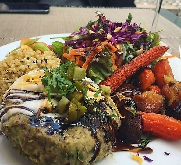 """Photo of Organi Chiado  by <a href=""""/members/profile/MarinaGalv%C3%A3o"""">MarinaGalvão</a> <br/> Lentil Burger and caramelized lentil, Rice, sweet potato and carrot sautéed, salad and sauce <br/> January 3, 2018  - <a href='/contact/abuse/image/85979/342564'>Report</a>"""