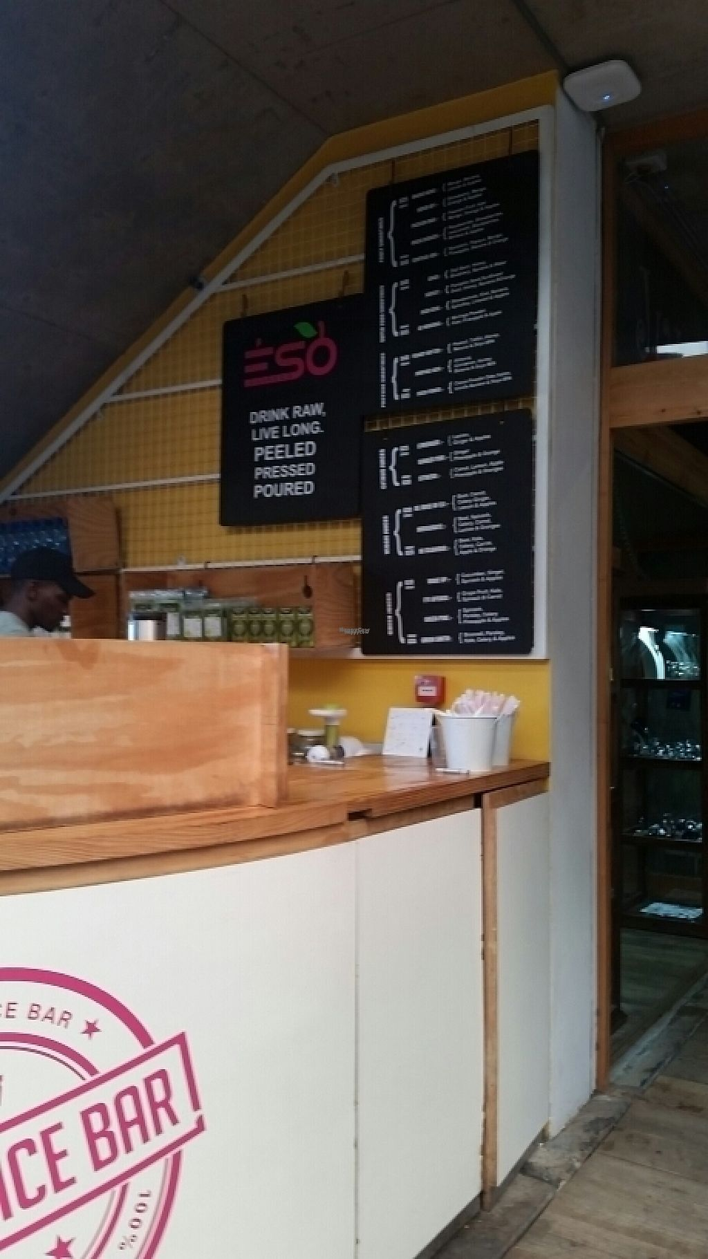 """Photo of ESO Juice Company - V & A Waterfront  by <a href=""""/members/profile/konlish"""">konlish</a> <br/>Bar Stand Menu not clear <br/> January 27, 2017  - <a href='/contact/abuse/image/86073/217737'>Report</a>"""