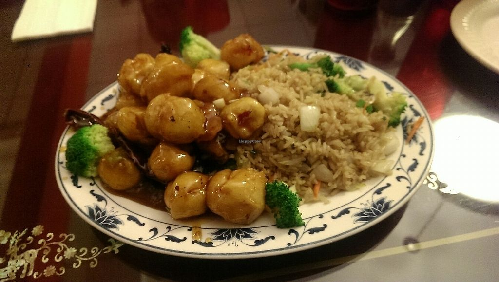 """Photo of New Chinatown  by <a href=""""/members/profile/jade.vegan"""">jade.vegan</a> <br/>General Tso's tofu with vegetarian fried rice (does not have egg) <br/> June 18, 2017  - <a href='/contact/abuse/image/8608/270262'>Report</a>"""