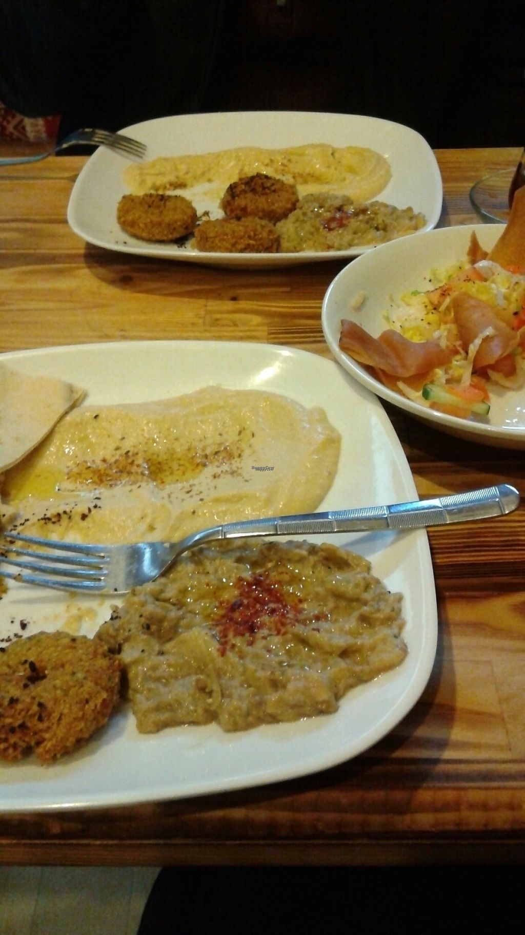 """Photo of Felafel Koy  by <a href=""""/members/profile/Dharlene"""">Dharlene</a> <br/>Variety platters and fatoush salad.  <br/> February 9, 2017  - <a href='/contact/abuse/image/86103/224593'>Report</a>"""