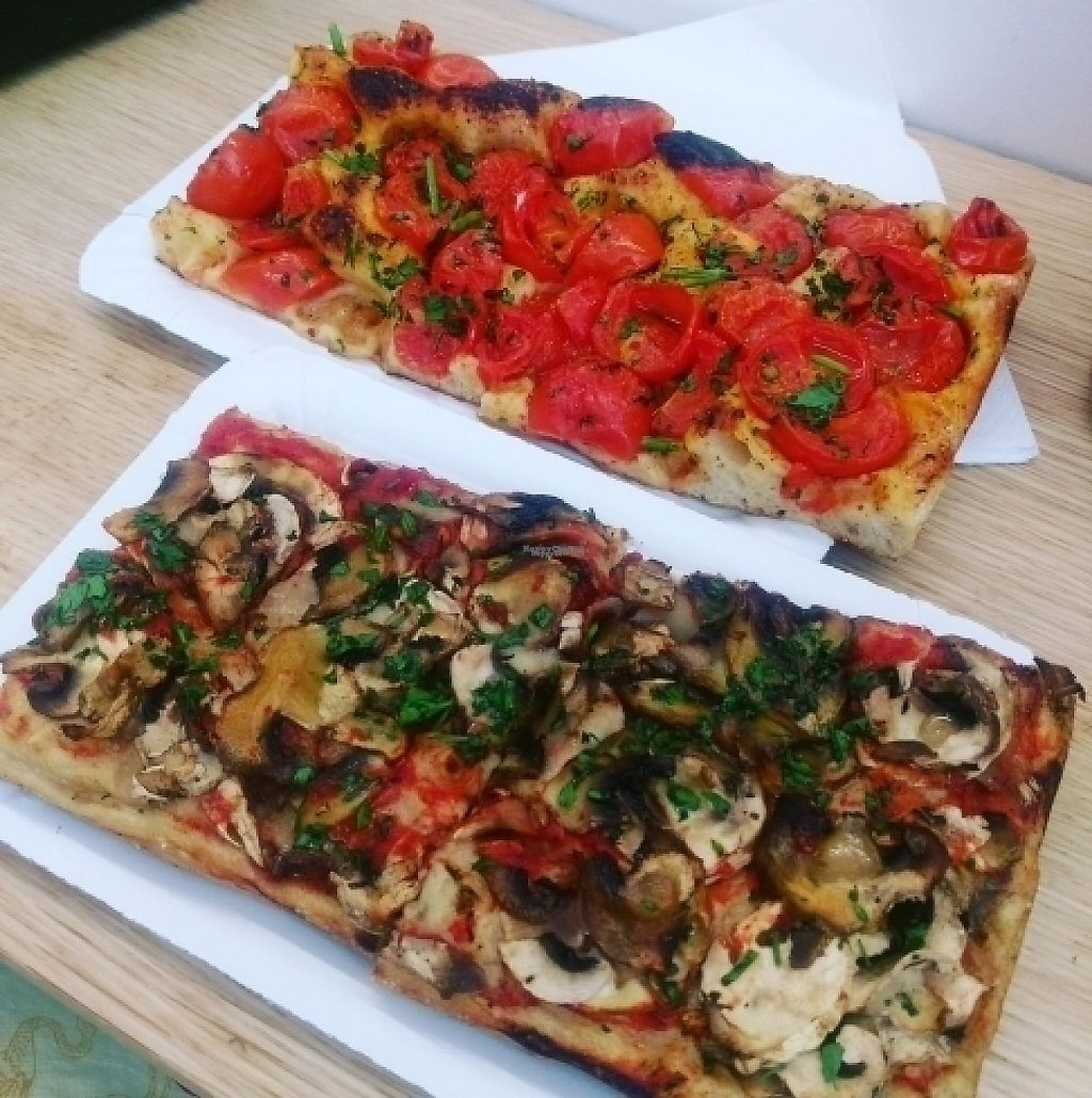 """Photo of Romana Pizza  by <a href=""""/members/profile/deedeedoolittle"""">deedeedoolittle</a> <br/>mushroom pizza and spicy cherry tomato pizza <br/> April 11, 2017  - <a href='/contact/abuse/image/86124/246917'>Report</a>"""