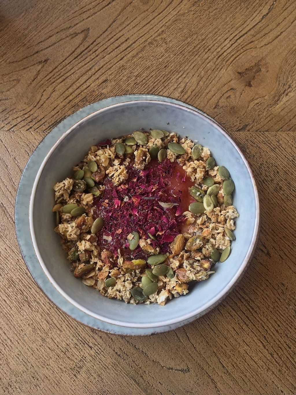 """Photo of Brochan  by <a href=""""/members/profile/lucirebecca"""">lucirebecca</a> <br/>Porridge with homemade rhubarb compote and rose, topped with pistachios, homemade granola and pumpkin seeds <br/> April 4, 2017  - <a href='/contact/abuse/image/86136/244793'>Report</a>"""