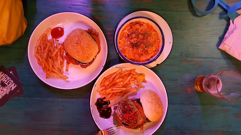 """Photo of Netherworld  by <a href=""""/members/profile/nafanc"""">nafanc</a> <br/>Eggplant katsu, mushroom burger, and udon Mac and cheez <br/> February 10, 2018  - <a href='/contact/abuse/image/86165/357178'>Report</a>"""