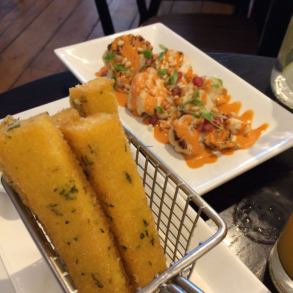 "Photo of The Gate - Seymour Place  by <a href=""/members/profile/Vgneats"">Vgneats</a> <br/>Sides - polenta fries and cauliflower with tahini <br/> July 31, 2017  - <a href='/contact/abuse/image/86221/287189'>Report</a>"
