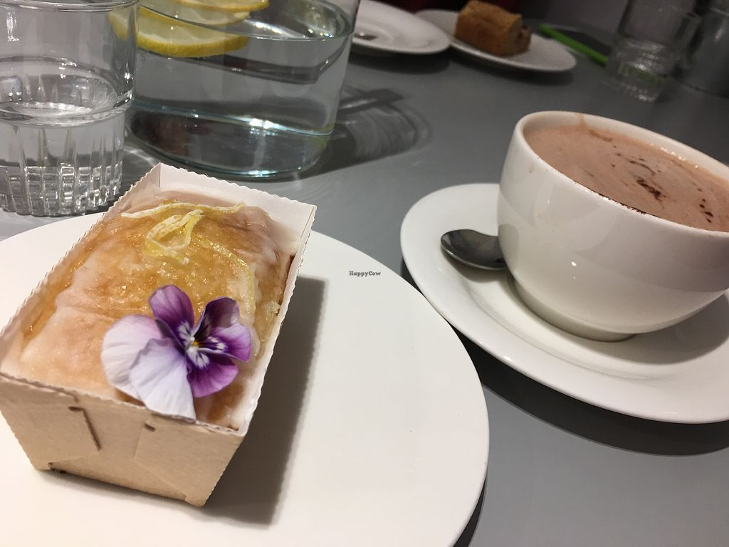 """Photo of Kindness and Co  by <a href=""""/members/profile/BristolVeganMumma"""">BristolVeganMumma</a> <br/>Vegan lemon drizzle cake with almond milk hot chocolate!  <br/> November 1, 2017  - <a href='/contact/abuse/image/86227/320770'>Report</a>"""