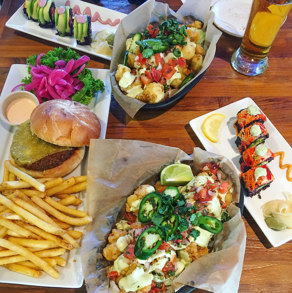 """Photo of Whole Foods Market - Brea  by <a href=""""/members/profile/MichelleBoozenny"""">MichelleBoozenny</a> <br/>cauliflower nachos vegan burger and sushi!!! <br/> May 31, 2017  - <a href='/contact/abuse/image/86269/264609'>Report</a>"""