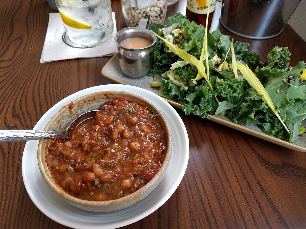 """Photo of South Kitchen + Spirits  by <a href=""""/members/profile/pattib"""">pattib</a> <br/>Black Eye Pea and Tomato Stew with a Little House Salad <br/> February 20, 2017  - <a href='/contact/abuse/image/86273/228383'>Report</a>"""