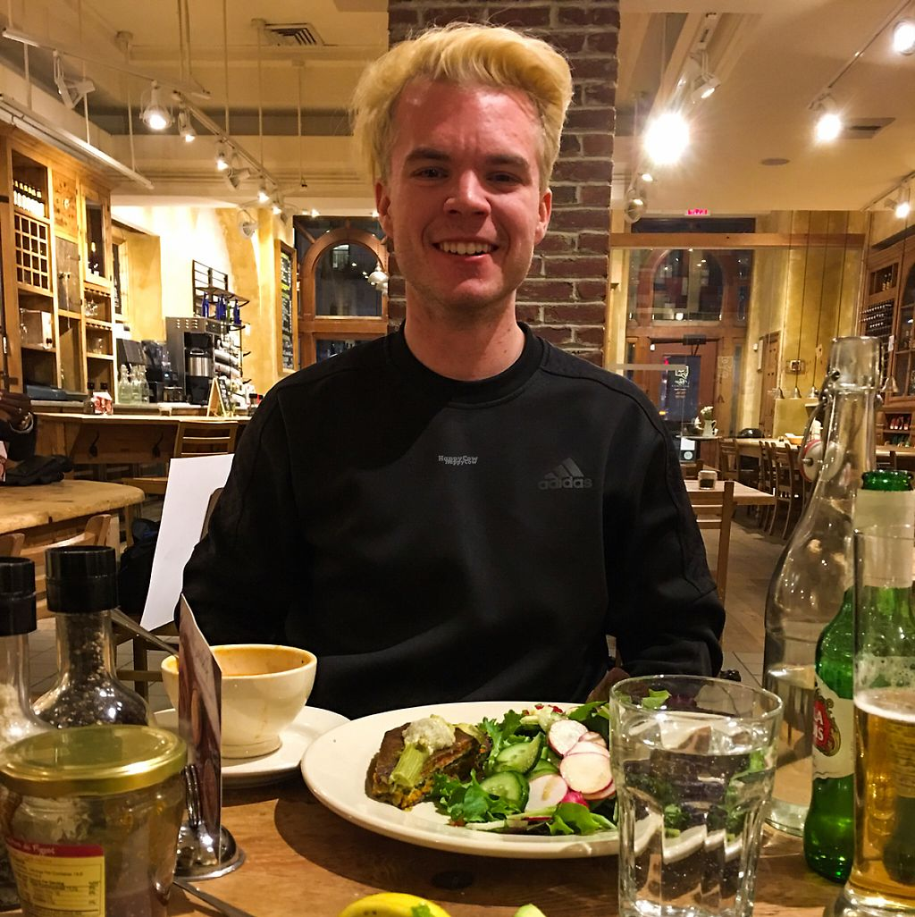 """Photo of Le Pain Quotidien - UN Plaza  by <a href=""""/members/profile/JeffVegsource"""">JeffVegsource</a> <br/>Willie enjoys vegan minestrone, avocado toast and vegetable torte.  <br/> February 12, 2017  - <a href='/contact/abuse/image/86287/225512'>Report</a>"""