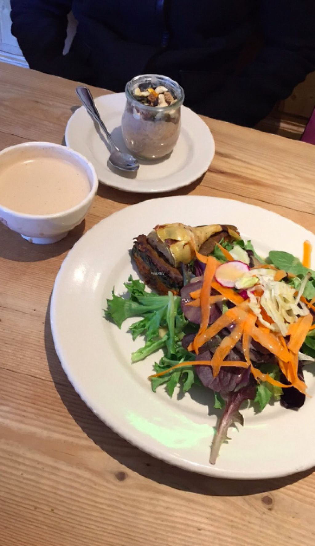 "Photo of Le Pain Quotidien  by <a href=""/members/profile/Hodahmad"">Hodahmad</a> <br/>Chai latte with almond milk, chia coconut pudding, and 6-vegetable tarte (all vegan!) <br/> April 22, 2017  - <a href='/contact/abuse/image/86309/251217'>Report</a>"