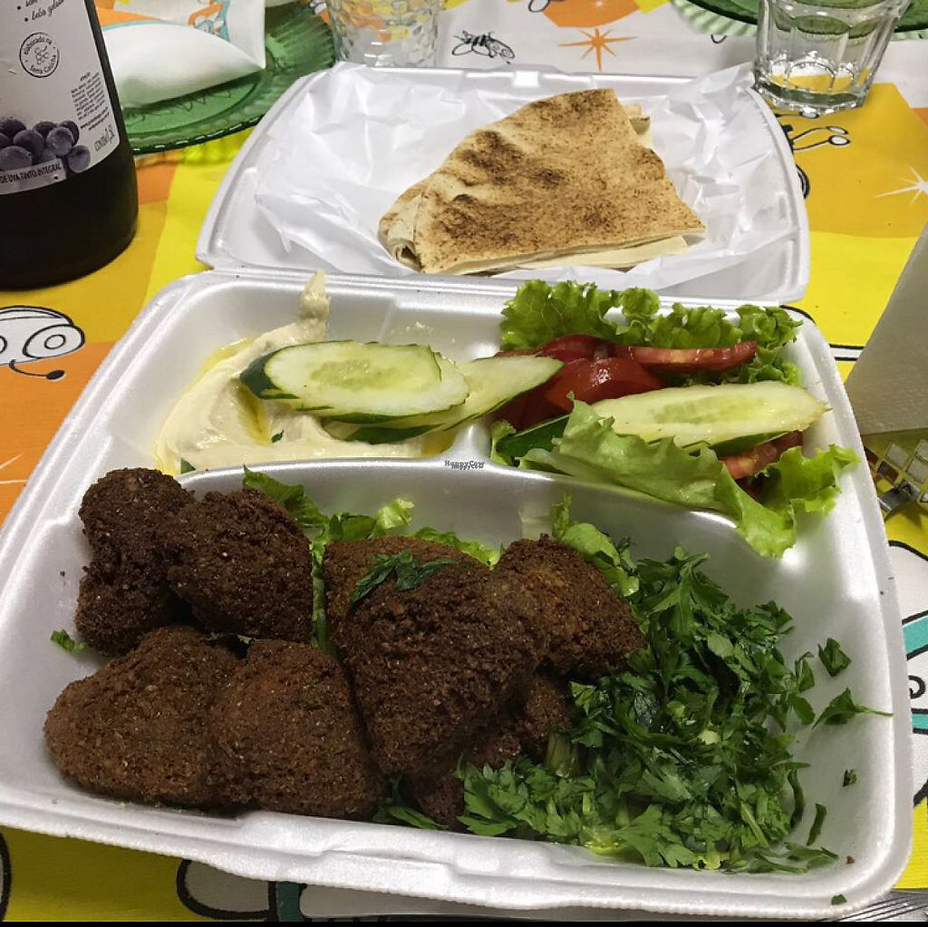 "Photo of Cantinho da Siria  by <a href=""/members/profile/Paolla"">Paolla</a> <br/>Falafel, hommus and pita bread - from the delivery service <br/> April 23, 2017  - <a href='/contact/abuse/image/86311/251570'>Report</a>"