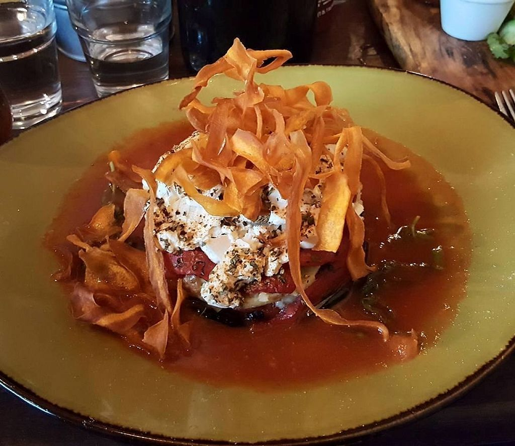"""Photo of Funkee Monkee Eatery and Bar  by <a href=""""/members/profile/Cynthia1998"""">Cynthia1998</a> <br/>Vegetable lasagne with tomato basil broth, requested to be made vegan by swapping the macaroni cheese with herbed tofu <br/> February 1, 2017  - <a href='/contact/abuse/image/86433/220402'>Report</a>"""