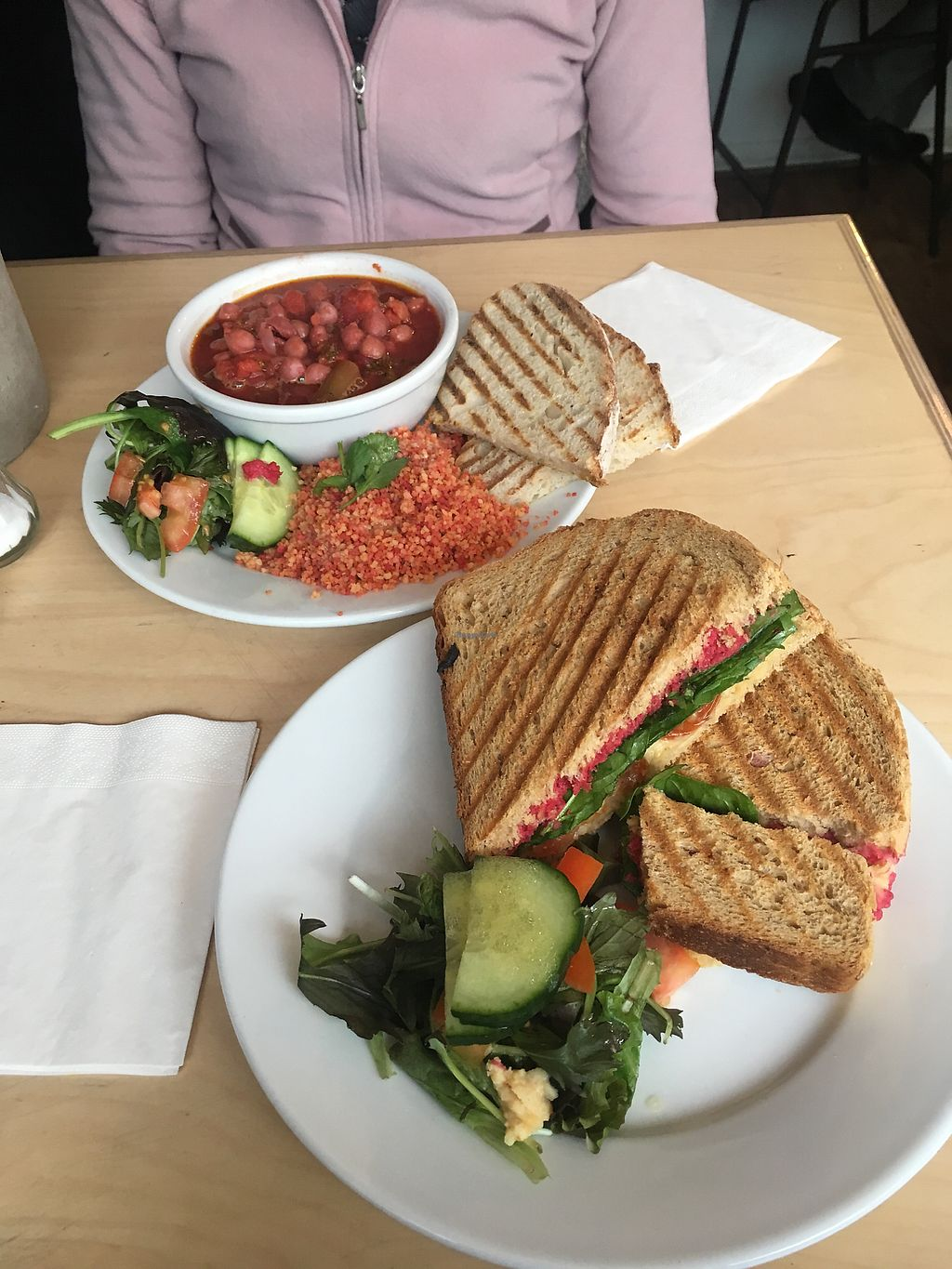 "Photo of Larder  by <a href=""/members/profile/Tonivegan"">Tonivegan</a> <br/>Chunky hummus toasted sandwich and tagine  <br/> November 24, 2017  - <a href='/contact/abuse/image/86440/328791'>Report</a>"