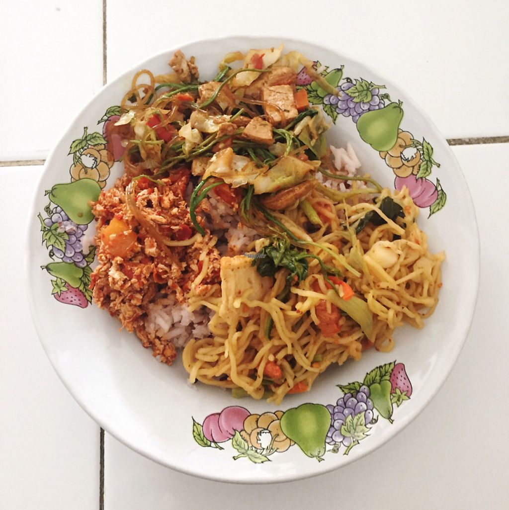 """Photo of Vegetarian Food  by <a href=""""/members/profile/economydreams"""">economydreams</a> <br/>Rice and 3 sides - noodles and tofu mainly <br/> April 17, 2017  - <a href='/contact/abuse/image/86468/249329'>Report</a>"""