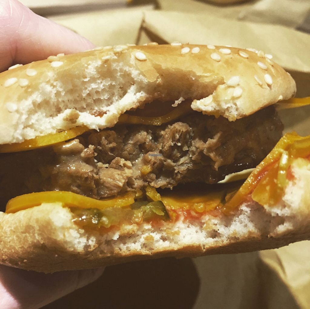 """Photo of Earth Restaurant & Takeaway  by <a href=""""/members/profile/SarahHutton"""">SarahHutton</a> <br/>Close up of the double cheese 1/4lb burger ?  <br/> March 5, 2017  - <a href='/contact/abuse/image/86514/233228'>Report</a>"""