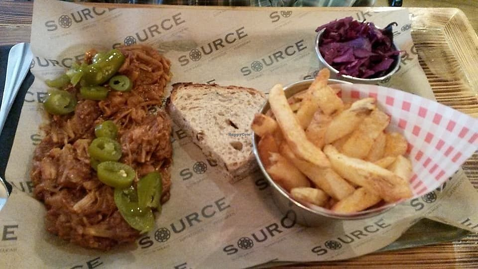 """Photo of Source  by <a href=""""/members/profile/deadpledge"""">deadpledge</a> <br/>BBQ jackfruit with chips and braised red cabbage <br/> November 4, 2017  - <a href='/contact/abuse/image/86526/321661'>Report</a>"""