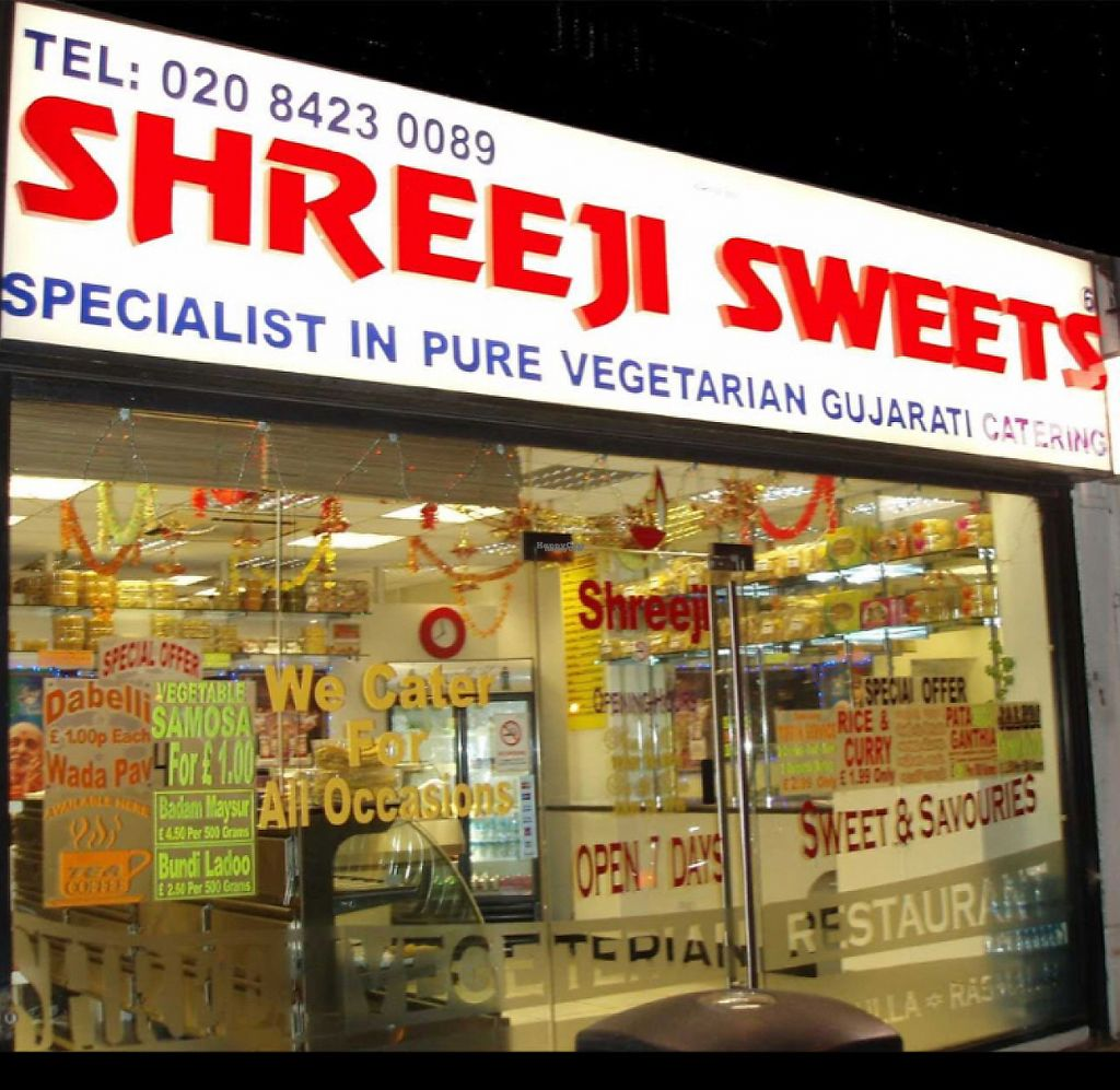 """Photo of Shreeji Sweets  by <a href=""""/members/profile/vegpilot"""">vegpilot</a> <br/>front of the shop  <br/> February 2, 2017  - <a href='/contact/abuse/image/86533/221356'>Report</a>"""