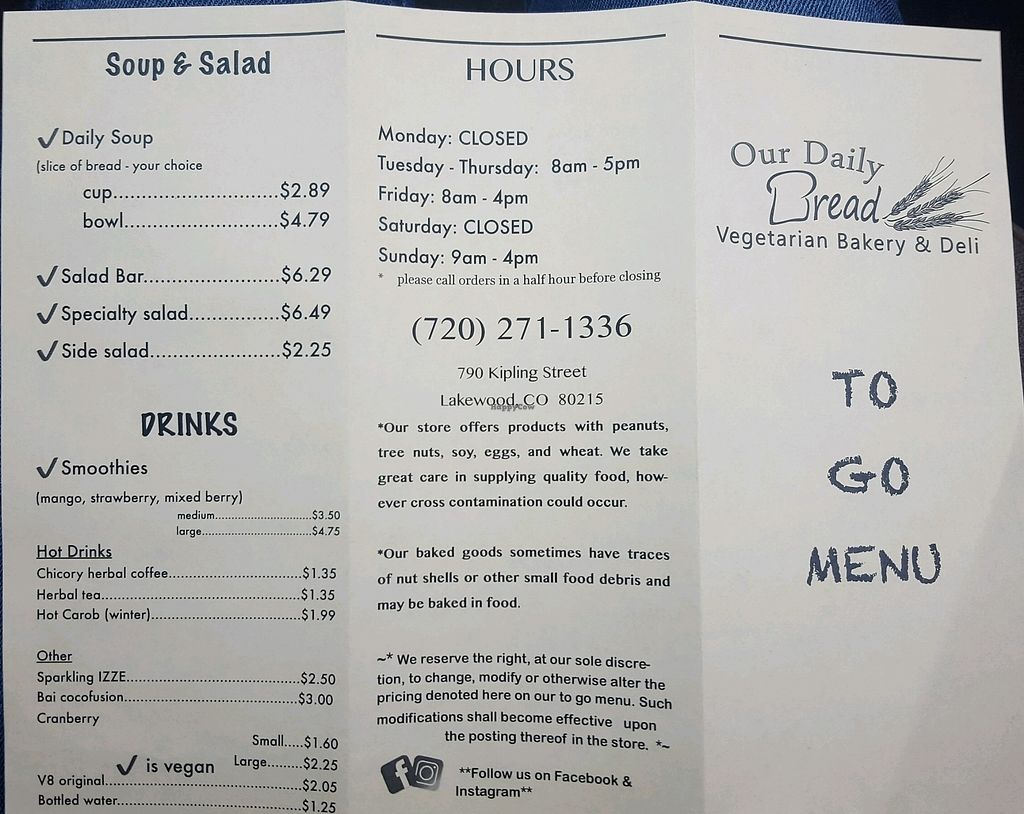 """Photo of Our Daily Bread  by <a href=""""/members/profile/KaylaReed"""">KaylaReed</a> <br/>menu as of 1/21/18 <br/> January 21, 2018  - <a href='/contact/abuse/image/86535/349538'>Report</a>"""
